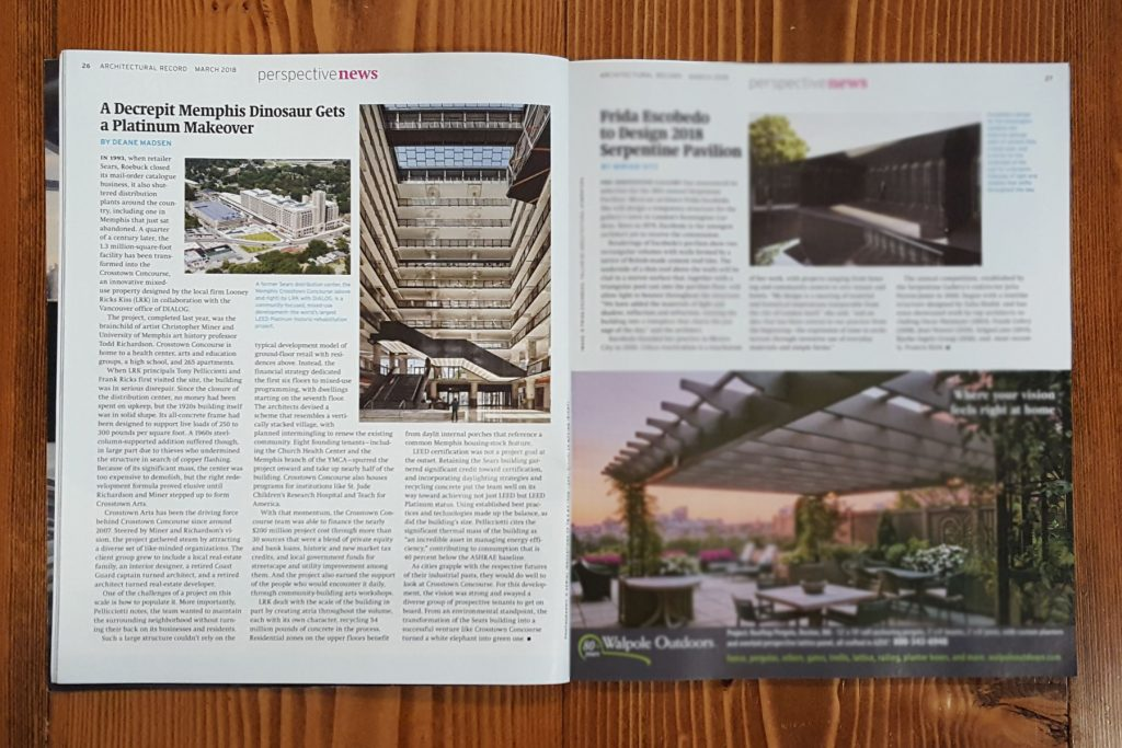 Crosstown Concourse in Architectural Record's March 2018 issue